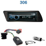 Poste 1-DIN CD/USB/Bluetooth Peugeot 306 de 03/1993 à 2002 - autoradio JVC et Kenwood au choix