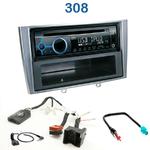 Poste 1-DIN CD/USB/Bluetooth Peugeot 308 depuis 09/2007 & 308 CC depuis 03/2009 - autoradio JVC et Kenwood au choix