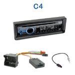 Poste 1-DIN CD/USB/Bluetooth Citroën C4 de 2004 à 2011 - autoradio JVC et Kenwood au choix
