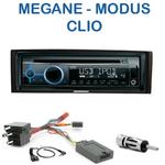Poste 1-DIN CD/USB/Bluetooth Renault Megane II de 2003 à 05/2009, Modus depuis 08/2004 & Clio III de 09/2005 à 2012 - autoradio JVC et Kenwood au choix