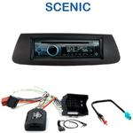 Poste 1-DIN CD/USB/Bluetooth Renault Scenic III depuis 04/2009 (façade noire ou marron) - autoradio JVC et Kenwood au choix