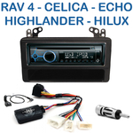 Poste 1-DIN CD/USB/Bluetooth Toyota RAV4 Celica Echo MR2 Highlander et Hilux de 2005 à 2011 - autoradio JVC et Kenwood au choix