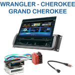 Autoradio 1-DIN GPS écran motorisé Jeep Wrangler, Cherokee & Grand Cherokee - NZ502E