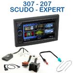 Autoradio 2-DIN Clarion Peugeot 207, 307, Expert & Fiat Scudo - VX404E