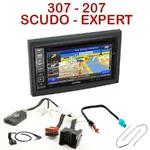 Pack autoradio GPS Peugeot 207, 307, Expert & Fiat Scudo - INE-W990HDMI, INE-W710D, INE-W987D ou ILX-702D au choix