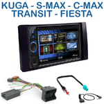 Autoradio 2-DIN Clarion Ford C-Max, Kuga, Focus, Fiesta, Fusion, Transit, S-Max & Galaxy (façade argentée ou noire) - VX404E