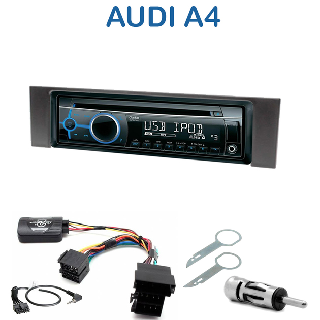 autoradio 1 din audi a4 b6 poste cd usb mp3 wma clarion audi autoradios. Black Bedroom Furniture Sets. Home Design Ideas