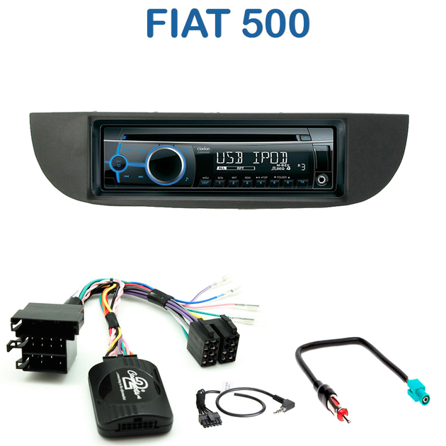 autoradio 1 din fiat 500 poste cd usb mp3 wma clarion. Black Bedroom Furniture Sets. Home Design Ideas