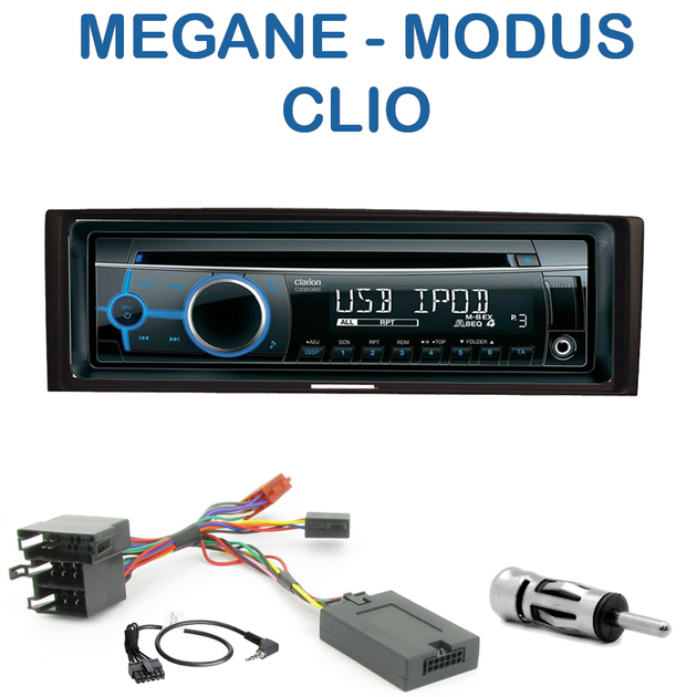 autoradio 1 din renault megane ii modus clio iii poste cd usb mp3 wma clarion renault. Black Bedroom Furniture Sets. Home Design Ideas