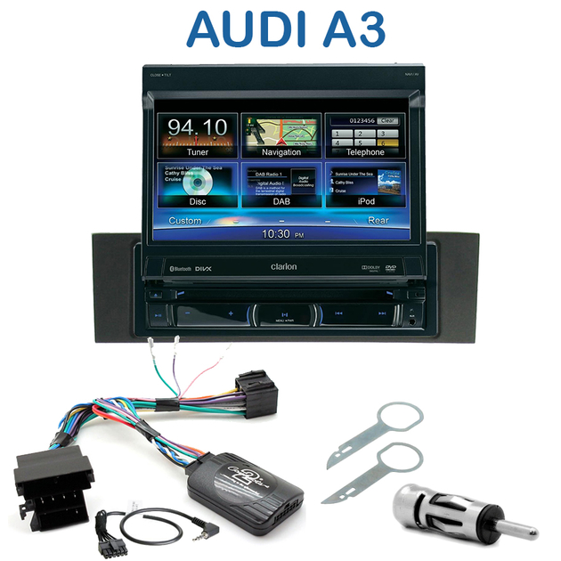 autoradio clarion 1 din gps cran motoris audi a3 autoradios. Black Bedroom Furniture Sets. Home Design Ideas