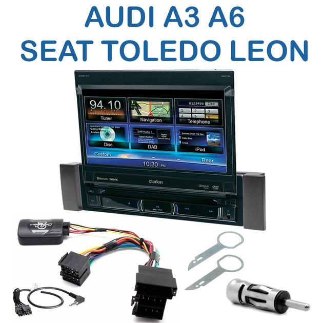 autoradio clarion 1 din gps cran motoris audi a3 a6 seat leon toledo autoradios. Black Bedroom Furniture Sets. Home Design Ideas