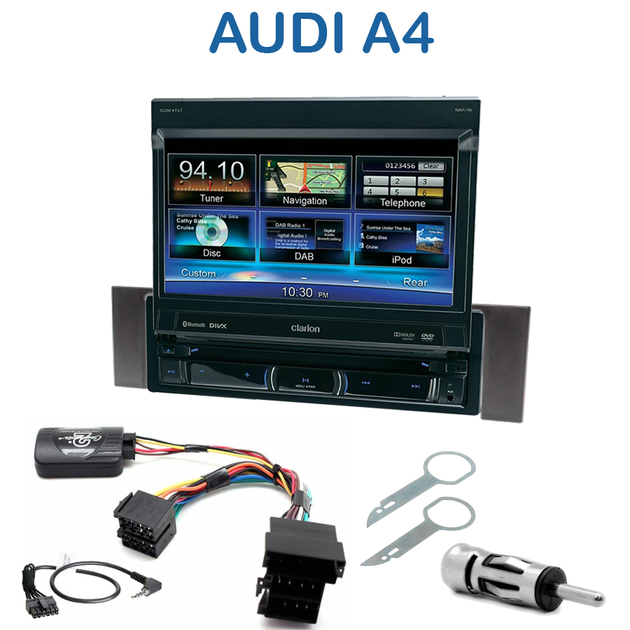 autoradio clarion 1 din gps cran motoris audi a4 b6 de 2000 2006 autoradios. Black Bedroom Furniture Sets. Home Design Ideas