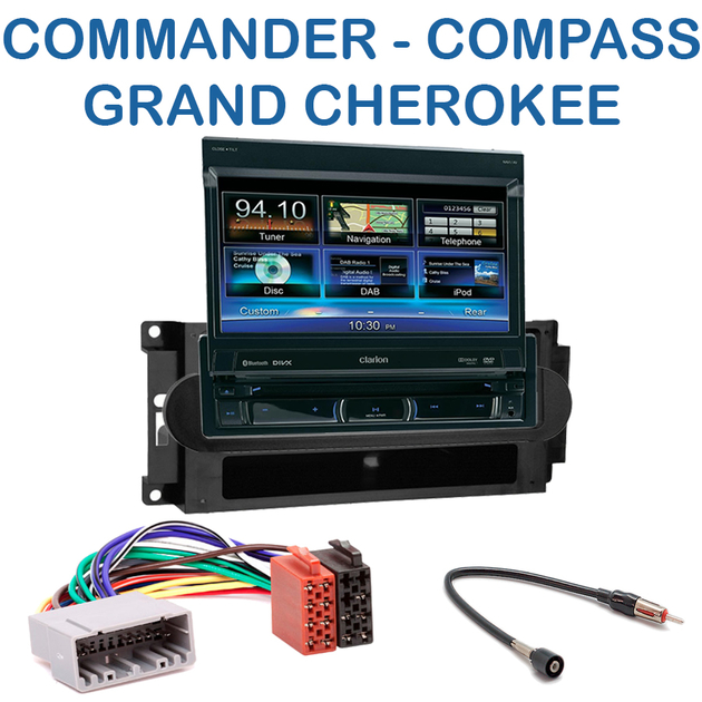 autoradio clarion 1 din gps cran motoris jeep commander compass patriot grand cherokee. Black Bedroom Furniture Sets. Home Design Ideas