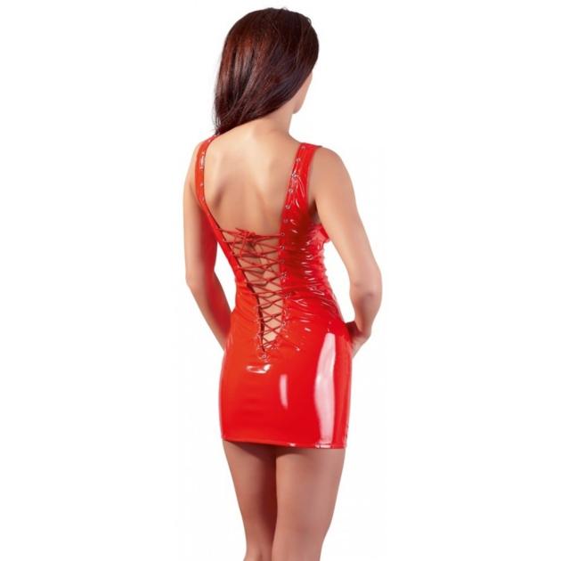 3500449000-robe-en-vinyle-rouge-avec-lacage-2