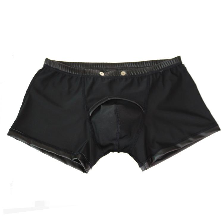 Sexy-Hommes-Plus-La-Taille-Ouvert-Entrejambe-Boxers-Faux-En-Cuir-tape-U-Convexe-Poche-Usure