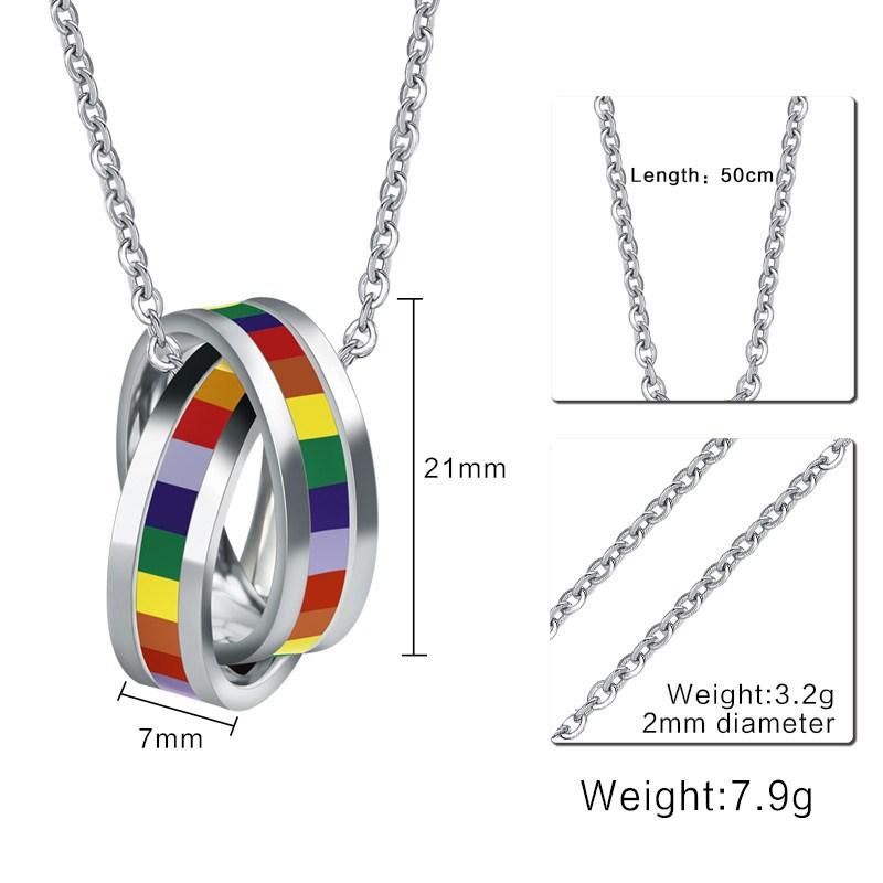 En-gros-De-Mode-Arc-Colliers-et-Pendentifs-Cercles-Charme-Titane-Acier-Inoxydable-Lesbienne-Gay-Pride