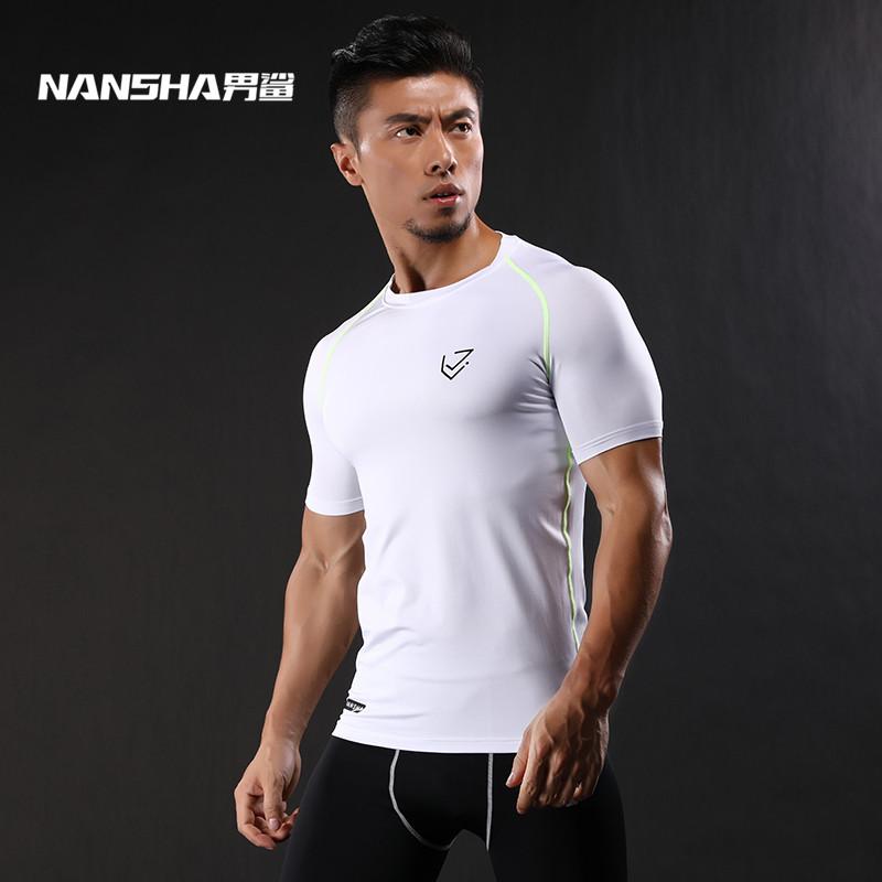 2017-NANSHA-Marque-Compression-Chemise-Manches-Courtes-T-shirt-Gymnases-Fitness-V-tements-Solide-Couleur-S