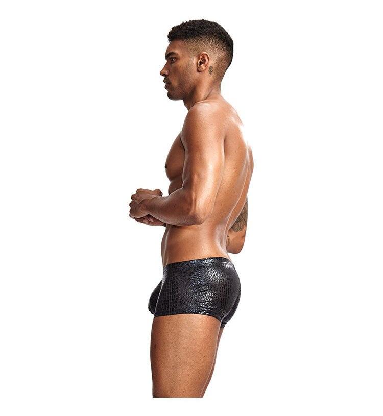 Boxer-en-cuir-de-peau-de-serpent-pour-homme-sous-v-tement-Sexy-de-marque-ouvert