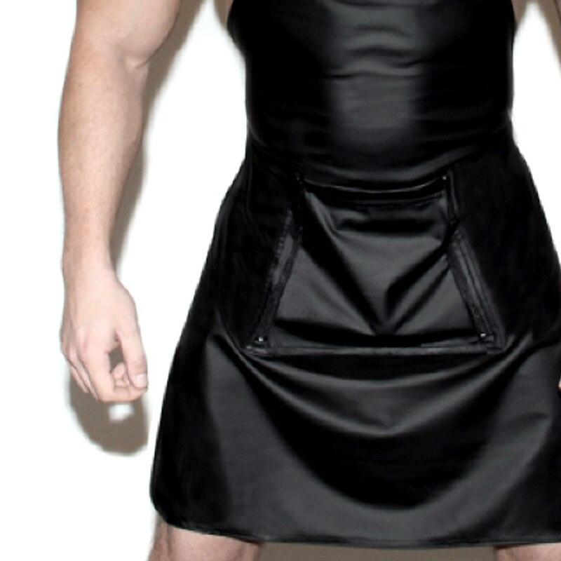 Tablier-en-cuir-pour-hommes-Lingerie-Sexy-devant-ouvert-l-entrejambe-uniforme-ajour-serveuse-Cosplay-Costume