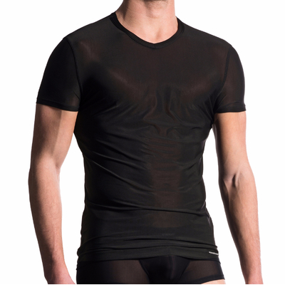 T-shirt col V M101 noir Manstore