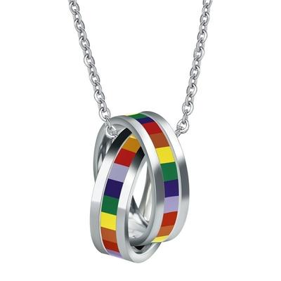 Collier 2 anneaux Rainbow