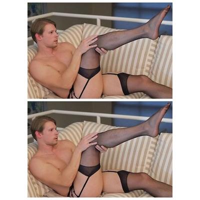 Jarretière dentelle pour homme avec bas