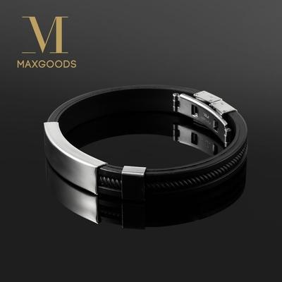 Bracelet noir silicone et acier