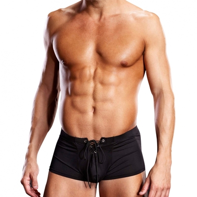 Boxer Microfiber Lace-Up Trunk noir