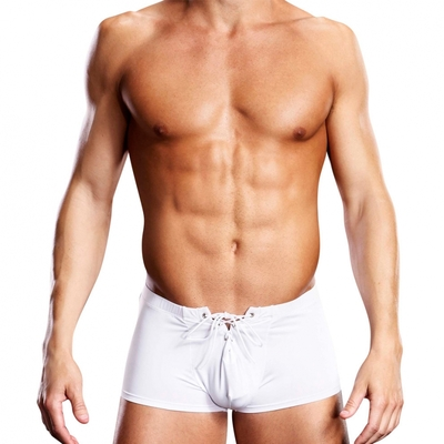Boxer Microfiber Lace-Up Trunk blanc