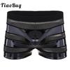 TiaoBug-Boxer-noir-pour-homme-Lingerie-effet-mouill-Faux-cuir-maille-Patchwork-rayures-taille-basse-Sexy