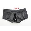 Boxer-en-cuir-PU-pour-hommes-short-de-Boxer-Sexy-grande-poche-amovible-dos-ouvert-mode