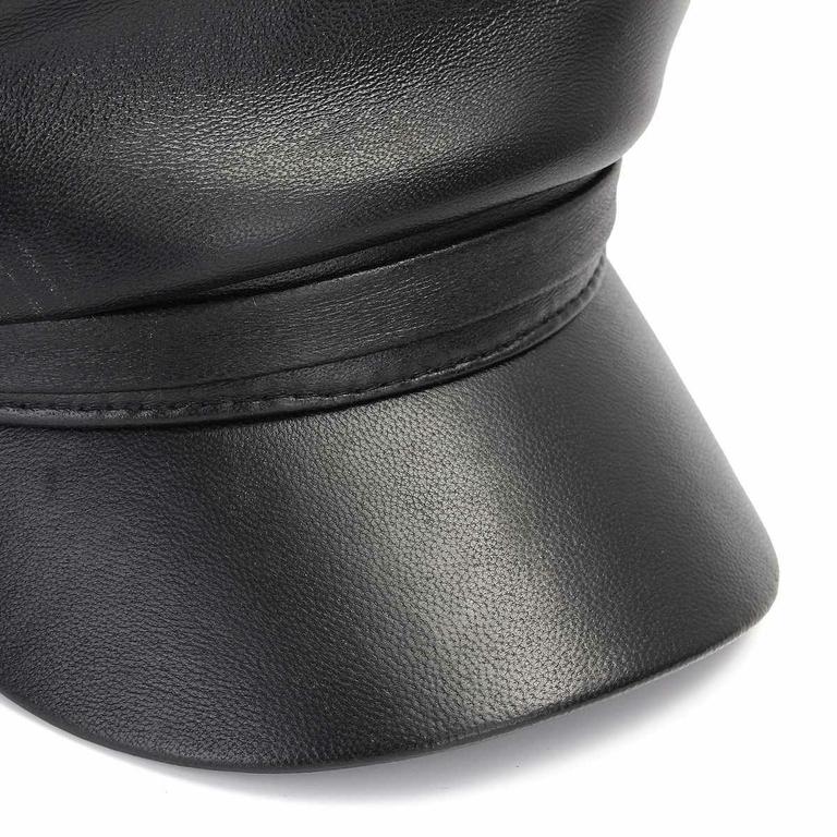 Nouveau-Unisexe-V-ritable-En-Cuir-Casquette-Militaire-Hommes-Femmes-Printemps-Automne-Noir-Arm-e-Chapeau