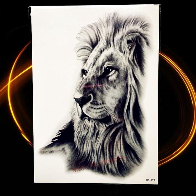 Afrique-Serengeti-Lion-Temporaire-Tatouage-Indien-Tribal-Puissant-Lion-Guerrier-tanche-Flash-Tatouage-Autocollant-Noir-Tatoo