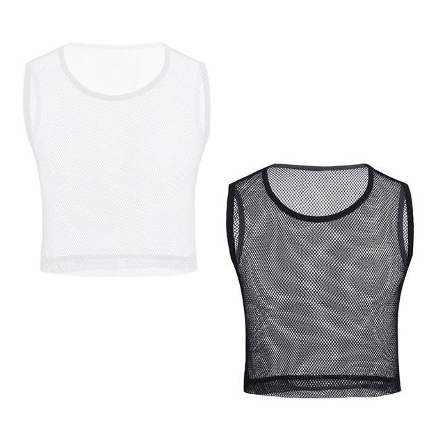 IEFiEL-Hommes-Sans-Manches-See-through-Mesh-R-sille-Muscle-Slim-Fit-Style-Court-Wetlook-D