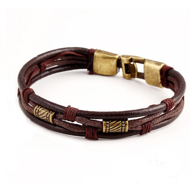 Hommes-Vintage-Tress-Faux-En-Cuir-En-Acier-Inoxydable-Manchette-Bracelet-Bracelet-Bracelet