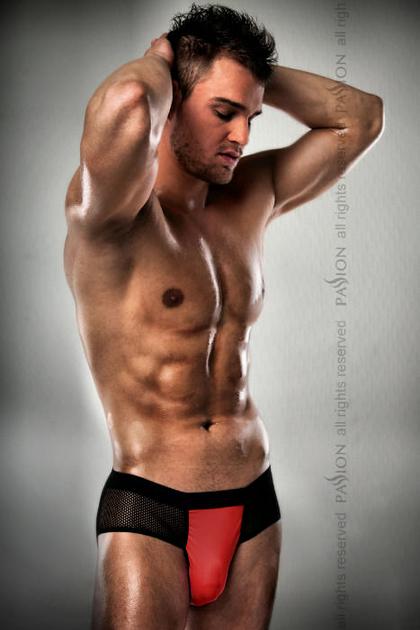 2100195000500-2 Boxer Jock fesses nues noir et rouge