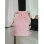 lingette lavable gaze de coton rose avec pochon