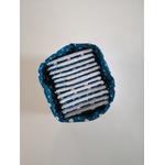 Panier lin blanc et lingettes asanoha bleu 6