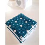 Panier lin blanc et lingettes asanoha bleu 3