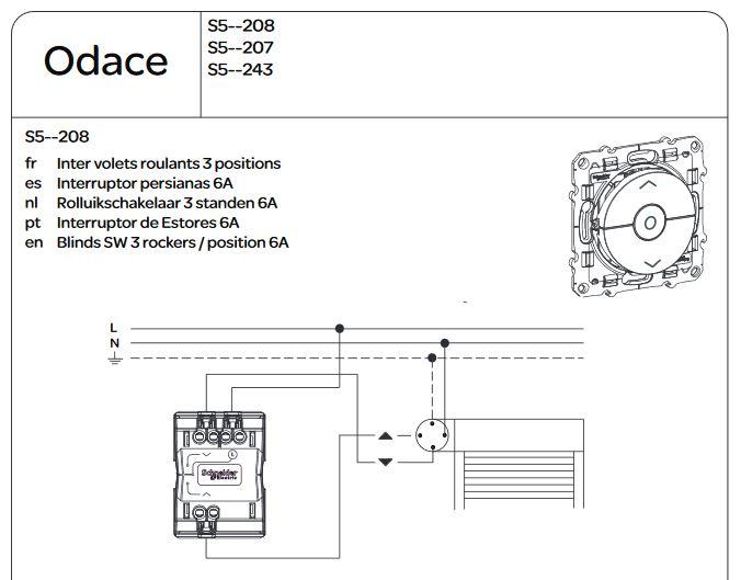 ENJOLIVEUR INTERRUPTEUR VOLET ROULANT SHNEIDER ODACE S520208