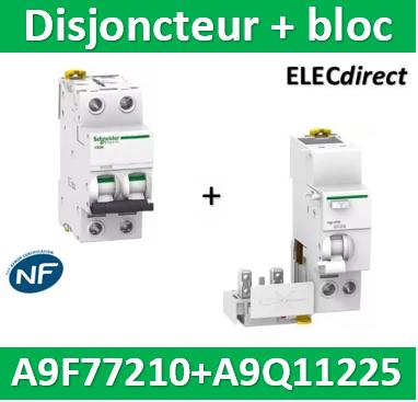 SCHNEIDER A9Q11225-2P 25A 30mA type AC Acti9 Vigi IC60 BLOC DIFFERENTIEL NEUF