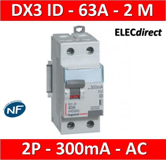 Inter différentiel 2P63A 300mA type AC Vis//Vis Legrand 411526