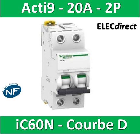 2P 1 A Courant Schneider Electric A9F75201 IC60N Disjoncteur 50//60 Hz Blanc Courbe D Acti 9 85 mm Hauteur x 36 mm Largeur x 78.5 mm Profondeur