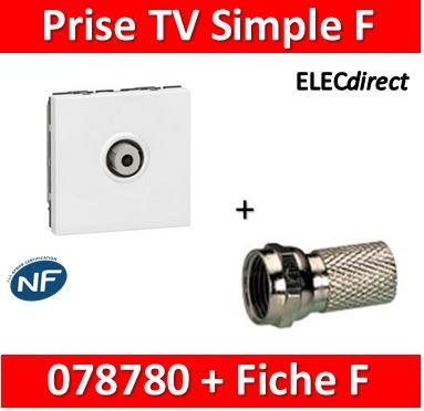 Prise TV simple type F à visser Mosaic Legrand 78780