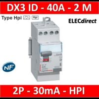 LEGRAND - Interrupteur Différentiel 2P - 40A - 30ma Type HPI Départ Haut - 411623