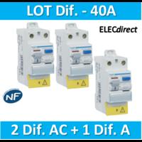 HAGER - LOT de 3 Inter différentiels (2 ID 40A AC + 1 ID 40A A) - CDC742Fx2+CDC743F