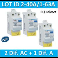 HAGER - LOT de 3 Inter différentiels (2 ID 40A AC + 1 ID 63A A) - CDC742Fx2+CDC765F