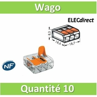 WAGO - Boîte de 10 Bornes auto fils Souple / Rigide 3 x (0.08 à 4mm2) - WAG 221-413