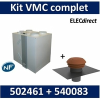 Nather - Kit VMC double flux T5 - BBC/RT2012 + chapeau toiture D.160 - 502461kit+540083