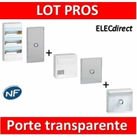 Legrand - LOT PROS - Coffret DRIVIA 39 Modules + VDI 4RJ45 + Habillage platine + porte transparente 13M